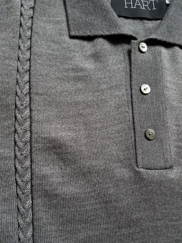 DAVID HART LLC Cable Knit Polo - GREY