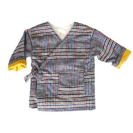 kids Nico Nico Che Reversible Kimono Style Jacket - Plaid Navy Blue