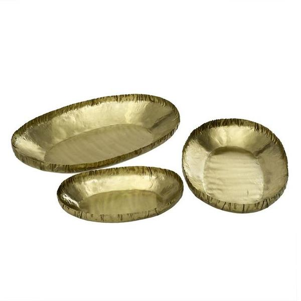 Indaba Set Of Three Brass Crinkle Trays - Gold