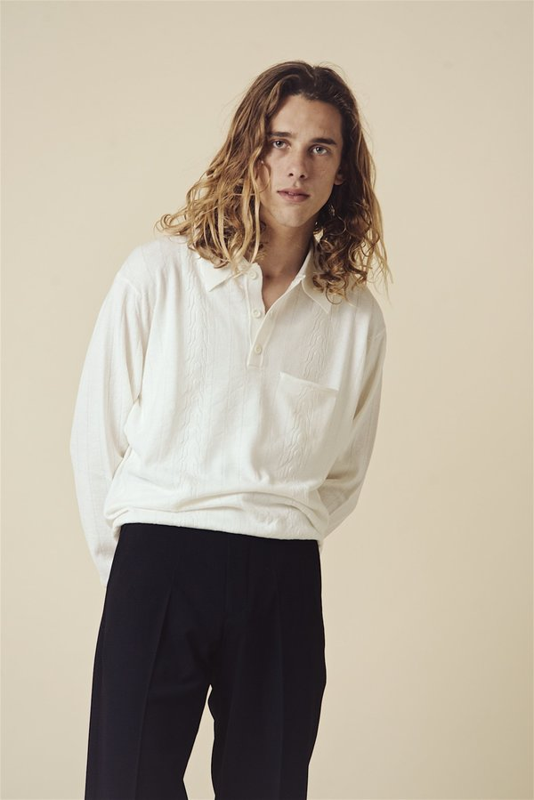 SECOND/LAYER Polo Sweater - Blanco
