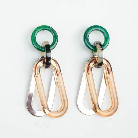 Rachel Comey Sour Earrings - Clear Brown Multi Acrylic