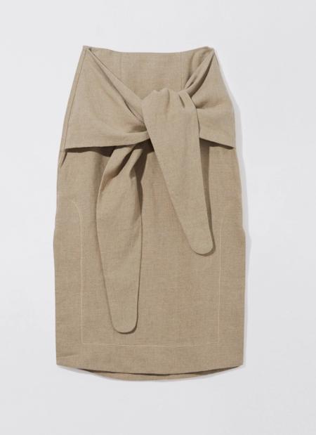 Bassike Linen Wrap Skirt - Flax
