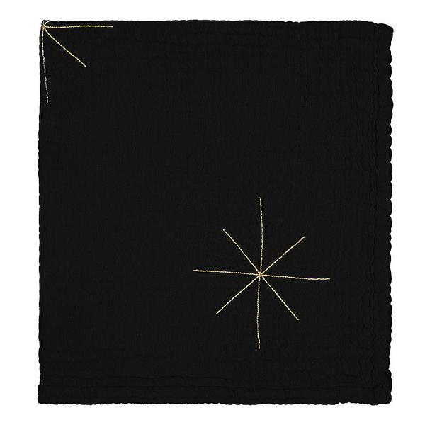Kids Moumout Paris Panpan Blanket - Embroidered Gold Stars/Ink Black