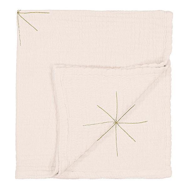 Kids Moumout Paris Panpan Blanket - Embroidered Gold Stars/Milk White