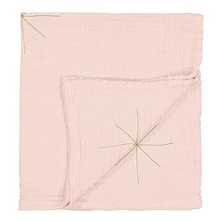 kids Moumout Paris Panpan Blanket - Embroidered Gold Stars/Nu Pink
