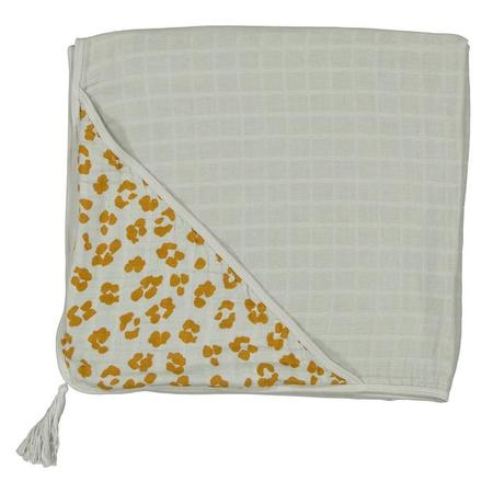 Kids Moumout Paris Sybel Hooded Towel - Almond Green/Savannah Print