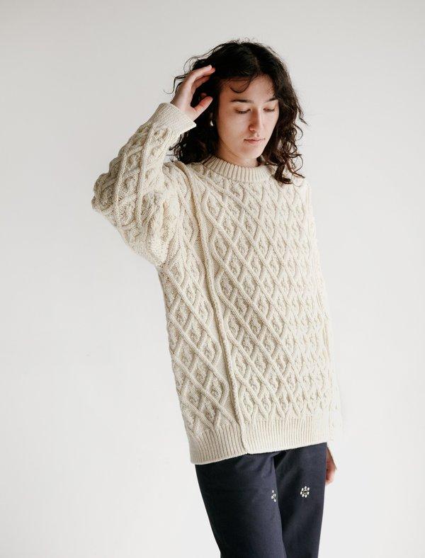 Auralee Hard Twist Merino Aran Knit Big Pullover - Ivory