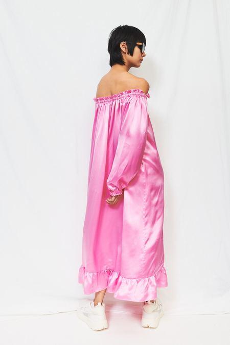 Zephyr Sleeper Silk Loungewear Dress - Pink