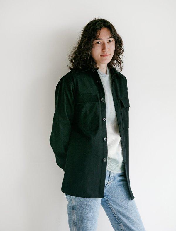 Auralee Super Soft Wool Flannel Shirt - Black
