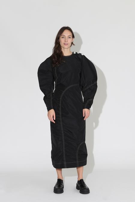 Ganni Recycled Polyester Dress - Black