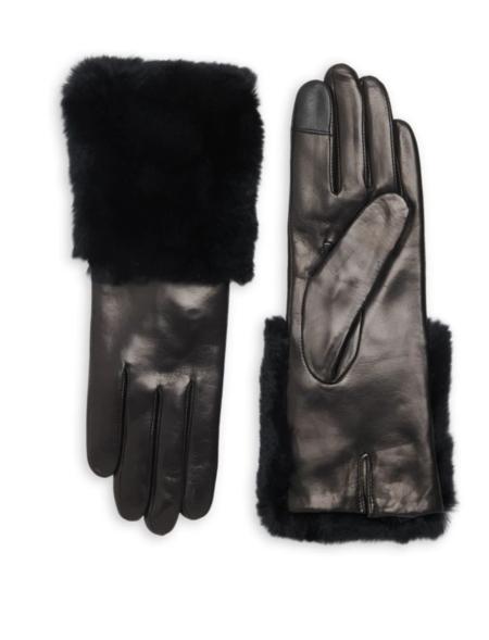 Carolina Amato Leather TT gloves with Fur Cuff - black