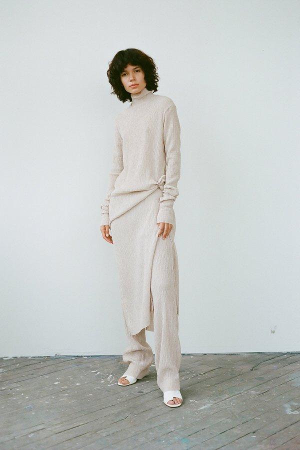 Nomia Textured Knit Mockneck Dress - Wheat