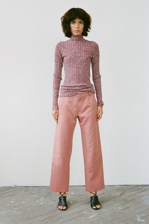 Nomia Wide Ribbed Mockneck Sweater - Burgundy/Sky Marl