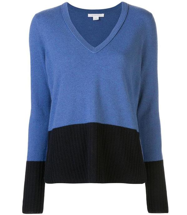 Duffy Color Block V Neck Top - Blue/Navy