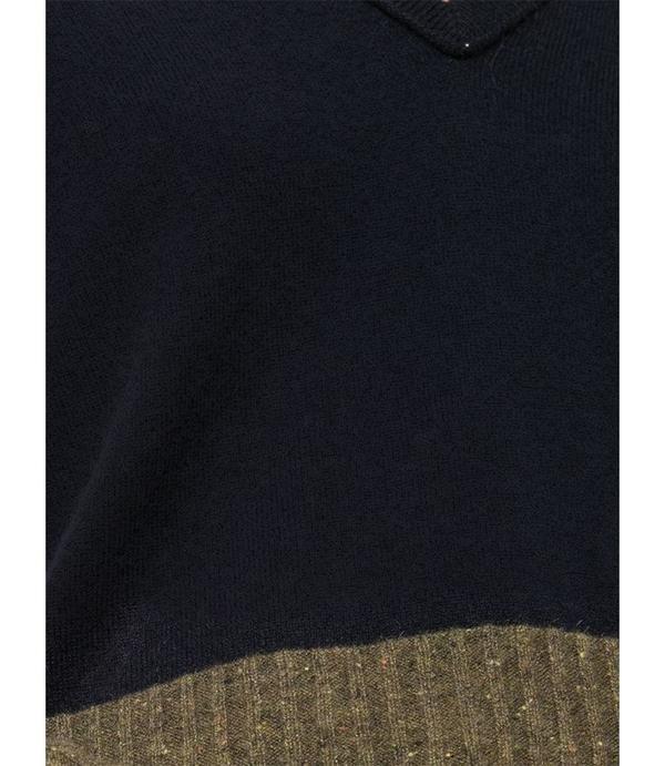 Duffy Color Block V Neck Top - Navy/Olive
