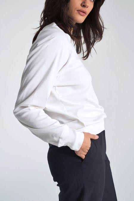 Suzanne Rae Organic Interlock Cotton Sweatshirt - White