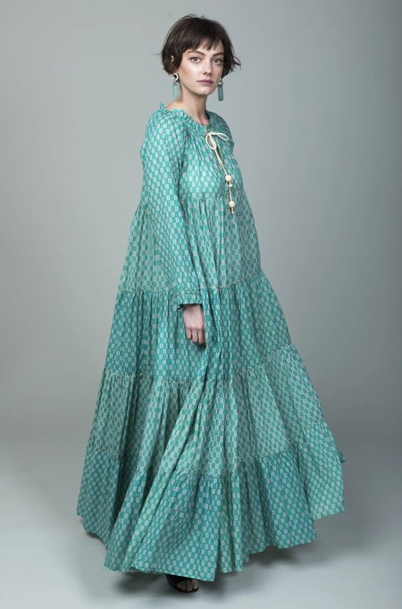 Yvonne S Maxi Hippy Dress - Tulip Repeat Emerald