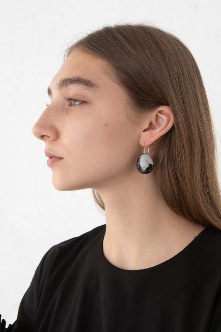 Mary MacGill Stone Drop Hook Earring - Portoro Marble