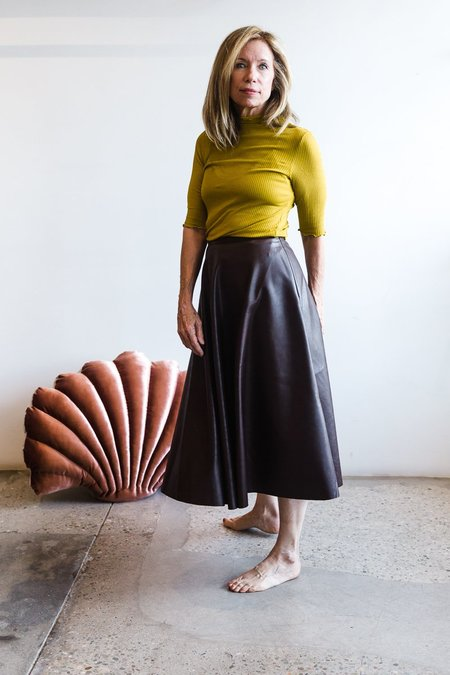 Paloma Wool Year One Vegan Leather Skirt - Brown