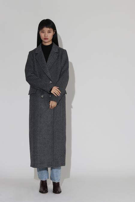Ganni Check Wool Coat - Charcoal