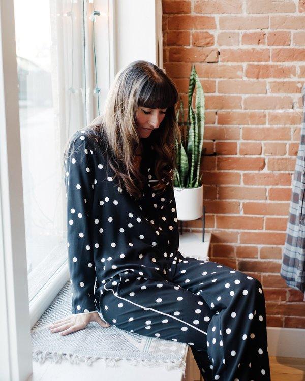Bella Dahl Sleep Shirt and Pant Set - Black/White