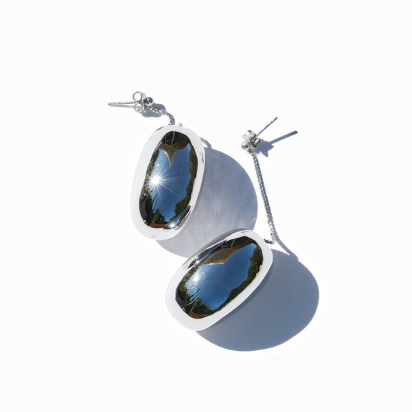 MING YU WANG Bean Earrings - Rhodium