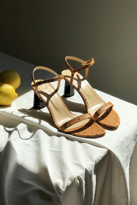 BY FAR Magnolia Embossed Leather Sandals - Nude Ostrich