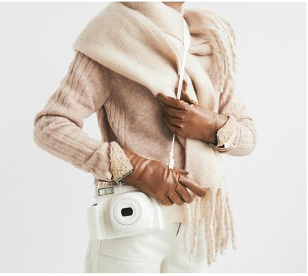 Carolina Amato Touch Tech Leather Glove - Luggage