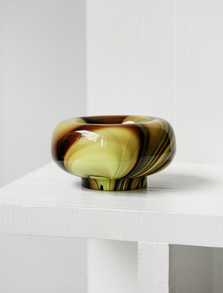 Found by Neighbour Swirl Small Glass Bowl - Lemon/Cocoa