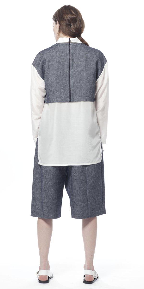 SCHAI Duo Combo Denim Shirt - White/Ink