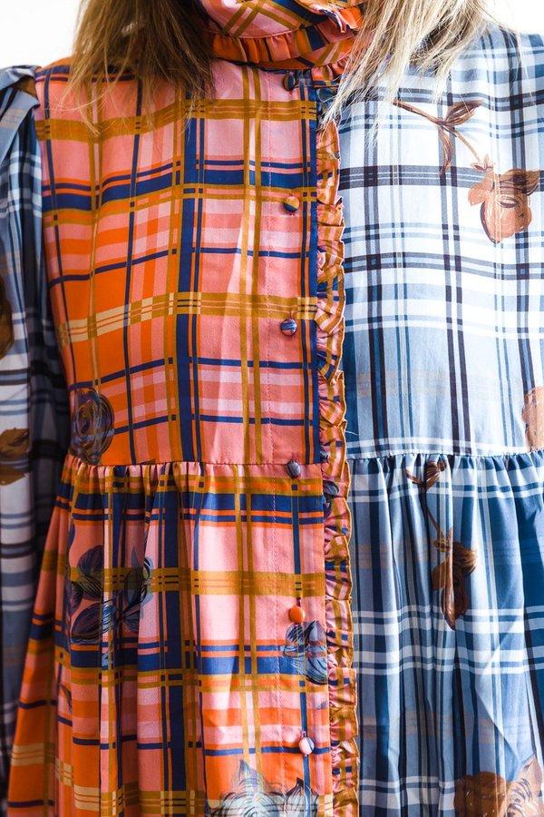 Manoush Robe Lounge Floral Madras Dress - Bicolore