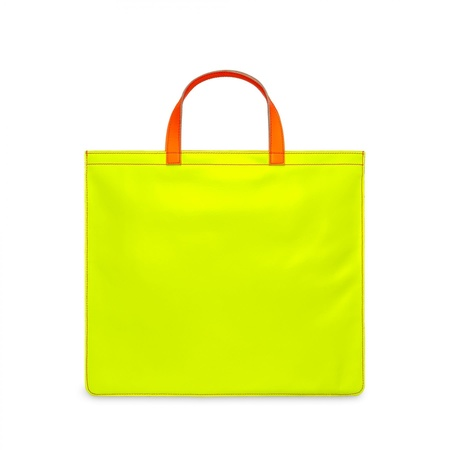 Comme des Garçons Super Fluo Leather Tote - Pink/Yellow