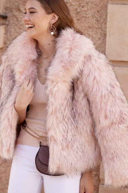 Bubish Faux Fur New York Coat - Pink