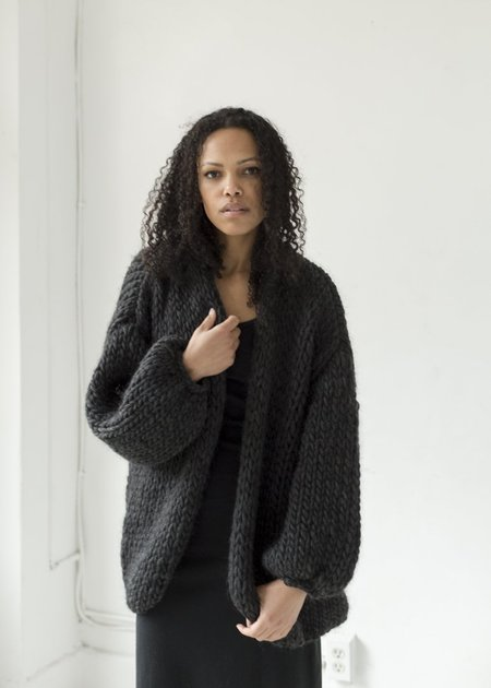 Hendrik.Lou Hand Knit Cardigan - Heathered Black