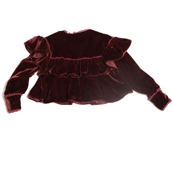 KIDS Tia cibani flounce rumspringa blouse - berry
