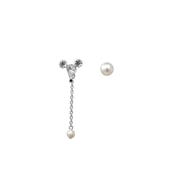 Joomi Lim Asymmetrical Earrings W/ Small Crystal Mouse & Pearl Earring - Rhodium/Crystal