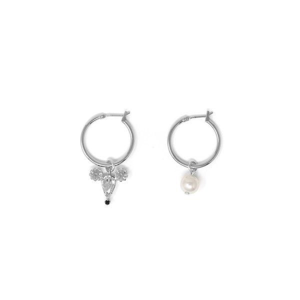 Joomi Lim Asymmetrical Small Hoop Earrings W/ Small Crystal Mouse & Pearl