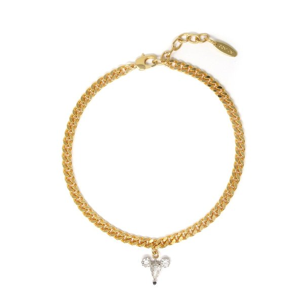 Joomi Lim Chain Choker W/ Small Crystal Mouse - Gold/Crystal