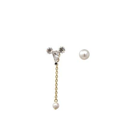 Joomi Lim Asymmetrical Earrings W/ Small Crystal Mouse & Pearl Earring - Gold/Crystal