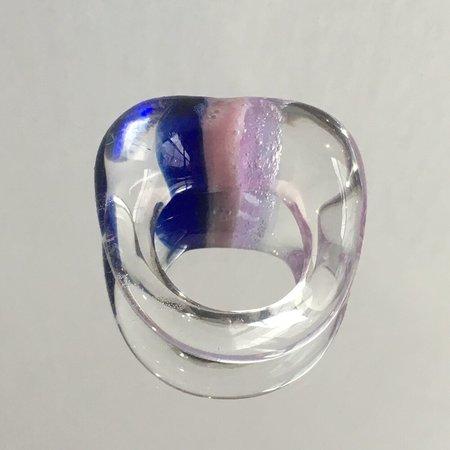 JANE D'ARENSBOURG GLASS RING - COBALT MAUVE LILAC STRIPE