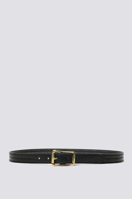 YUKETEN Leather Triple Stitched Belt - black