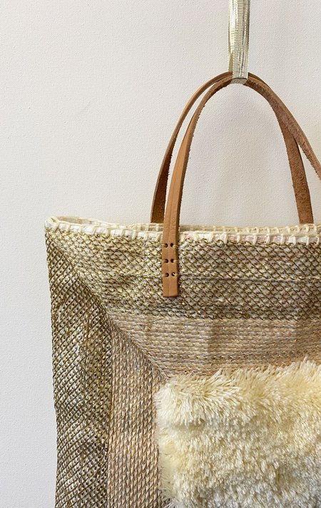 En Shallah Square Tote Bag - Gold/Cream