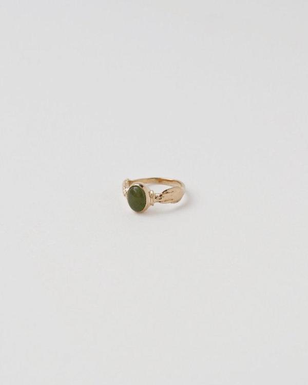 APSE ADORN Garner Jade Ring - Gold