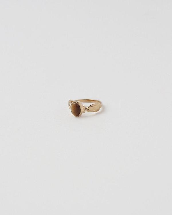APSE ADORN Garner Tiger Eye Ring - Gold