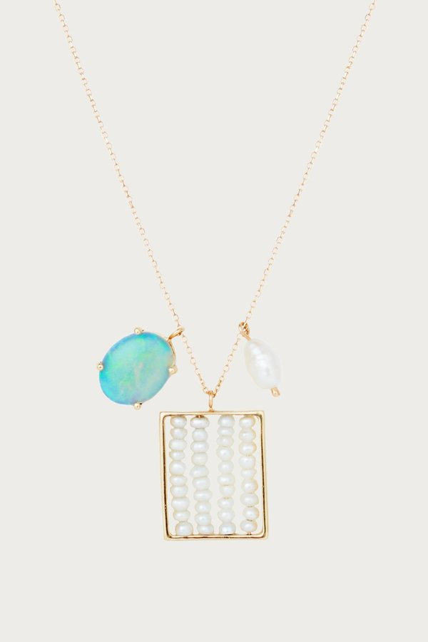 WWAKE Pearl and Opal Charm Necklace - 14K Yellow Gold