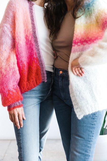 Rose Carmine Little Jacket - Rainbow Pastels Ecru