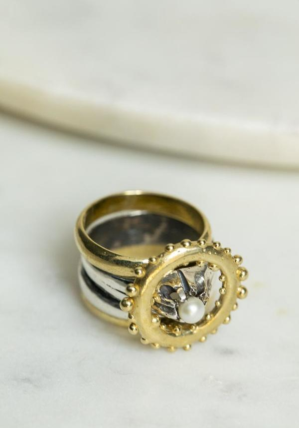 Angostura Brass and Silver Pearl Ring Set