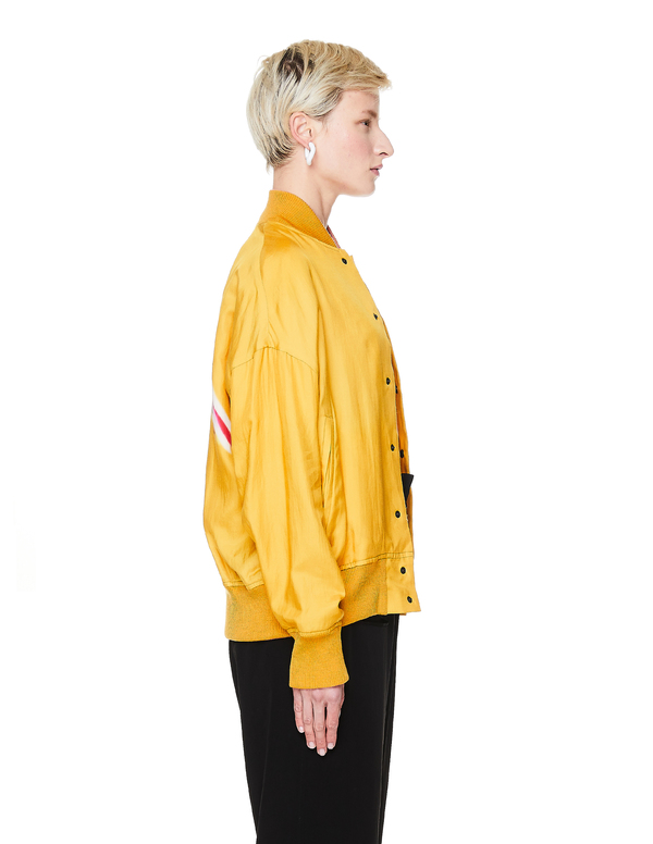 Y's Silk Printed Bomber Jacket - Yellow