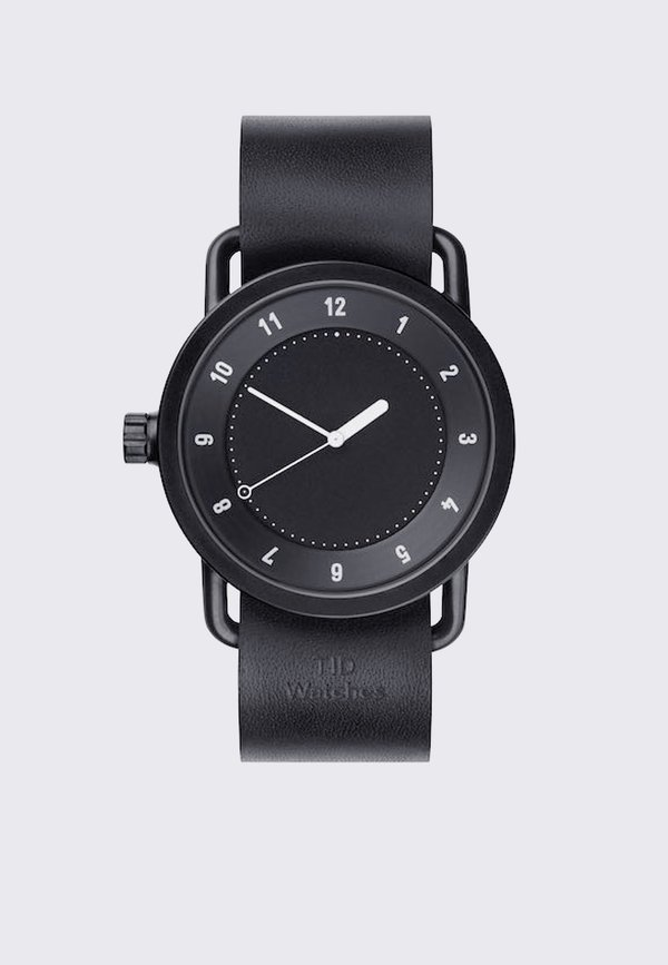 TID Watches No.1 - black/black leather wristband