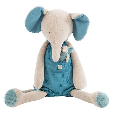 Kids Moulin Roty Sous Mon Baobab Giant Elephant Soft Toy With Baby - Bergamot